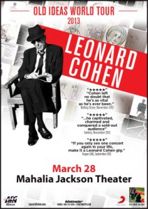 New Orleans Music Leonard Cohen Old Ideas World Tour 2013 Flyer