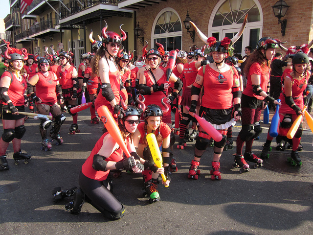 Instead of actual bulls, runners at San Fermin en Nueva Orleans are chased by the Big Easy Rollergirls. (Photo courtesy Infrogmation)