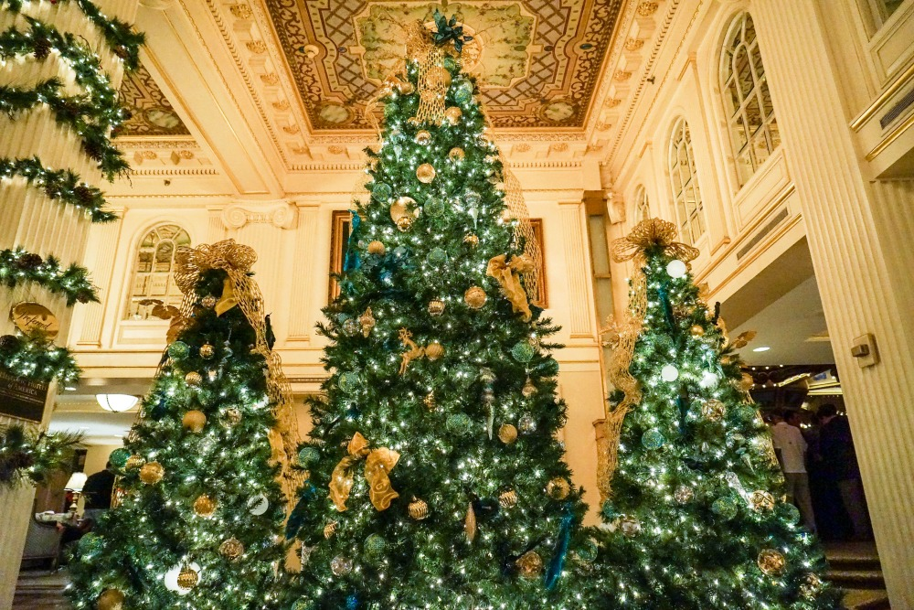 Christmas trees in Hotel Monteleone's lobby.
