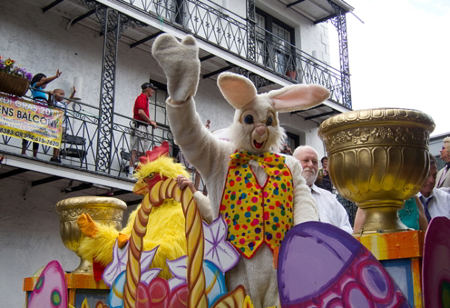 Three parades roll through the French Quarter on Easter Sunday. (Photo courtesy Flickr user Sean Connors)