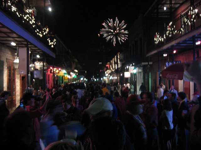 Watch the New Year's Eve fireworks from the streets of the French Quarter. (Photo courtesy Flickr user jephilip)