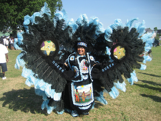 "The ""Downtown"" Mardi Gras Indians gather near the headwaters of Bayou St. John on Super Sunday. (Photo courtesy Flickr user Infrogmation)"